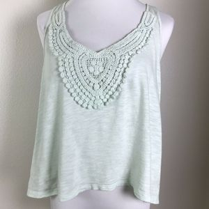 3/$20 Mudd Crochet Lace int Green Tank Top